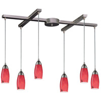 Milan 6 Light 33 inch Satin Nickel Pendant Ceiling Light in Fire Red Glass