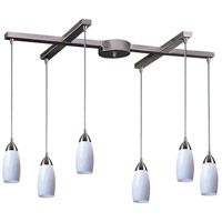 Milan 6 Light 33 inch Satin Nickel Pendant Ceiling Light in Simply White Glass