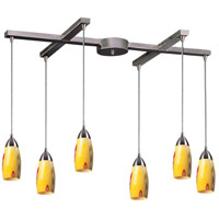 Milan 6 Light 33 inch Satin Nickel Pendant Ceiling Light in Yellow Blaze Glass
