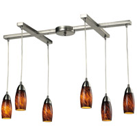 Milan 6 Light 33 inch Satin Nickel Pendant Ceiling Light in Espresso Glass