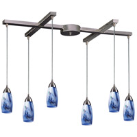 Milan 6 Light 33 inch Satin Nickel Pendant Ceiling Light in Mountain Glass