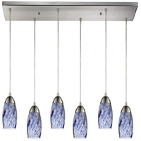 Milan 6 Light 30 inch Satin Nickel Pendant Ceiling Light in Starburst Blue Glass