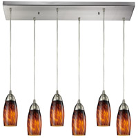Milan 6 Light 30 inch Satin Nickel Pendant Ceiling Light in Espresso Glass
