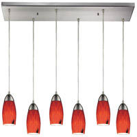 Milan 6 Light 30 inch Satin Nickel Pendant Ceiling Light in Fire Red Glass