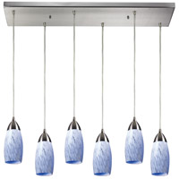 Milan 6 Light 30 inch Satin Nickel Pendant Ceiling Light in Snow White Glass