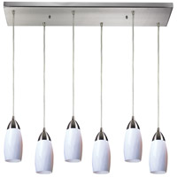 Milan 6 Light 30 inch Satin Nickel Pendant Ceiling Light in Simply White Glass
