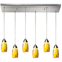 Milan 6 Light 30 inch Satin Nickel Pendant Ceiling Light in Yellow Blaze Glass