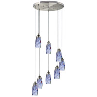 Milan 8 Light 18 inch Satin Nickel Mini Pendant Ceiling Light in Starburst Blue Glass, Incandescent, Round Canopy, Round
