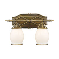ELK 11041/2 WILLIAMSPORT 2 Light 18 inch Vintage Brass Patina Vanity Wall Light photo thumbnail