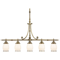 Williamsport 5 Light 46 inch Vintage Brass Patina Island Light Ceiling Light