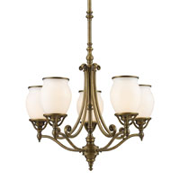 Williamsport 5 Light 23 inch Vintage Brass Patina Chandelier Ceiling Light
