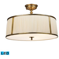 Williamsport LED 20 inch Vintage Brass Patina Semi-Flush Mount Ceiling Light