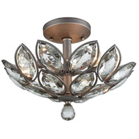 La Crescita 3 Light 15 inch Weathered Zinc Semi Flush Mount Ceiling Light