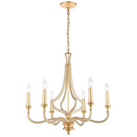 ELK 11176/6 La Rochelle 6 Light 26 inch Parisian Gold Leaf Chandelier Ceiling Light