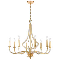 ELK 11177/8 La Rochelle 8 Light 32 inch Parisian Gold Leaf Chandelier Ceiling Light