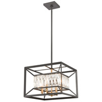 Starlight 4 Light 15 inch Charcoal with Satin Brass Pendant Ceiling Light