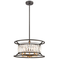 Starlight 5 Light 19 inch Charcoal with Satin Brass Pendant Ceiling Light