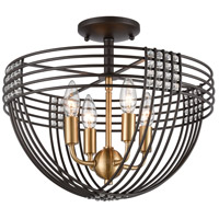 Concentric 4 Light 16 inch Oil Rubbed Bronze with Satin Brass Semi Flush Mount Ceiling Light