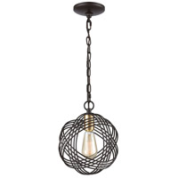 Concentric 1 Light 9 inch Oil Rubbed Bronze with Satin Brass Pendant Ceiling Light