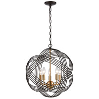 Concentric 5 Light 19 inch Oil Rubbed Bronze with Satin Brass Pendant Ceiling Light