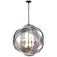 ELK 11194/7 Concentric 7 Light 26 inch Oil Rubbed Bronze with Satin Brass Pendant Ceiling Light