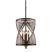 ELK Lighting Crystoria 4 Light Chandelier in Antique Bronze 11224/4
