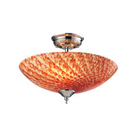 Night Glow 3 Light 16 inch Polished Chrome Semi-Flush Mount Ceiling Light