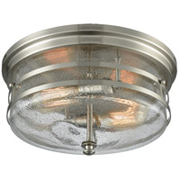 Port O Connor 2 Light 14 inch Satin Nickel Flush Mount Ceiling Light