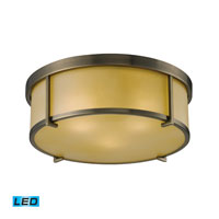 ELK Lighting Signature 3 Light Flush Mount in Antique Brass 11485/3-LED