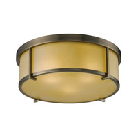 Signature 3 Light 15 inch Antique Brass Flush Mount Ceiling Light