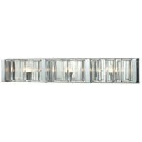 ELK Lighting Corrugated Glass 3 Light Vanity in Polished Chrome with Clear Glass 11517/3