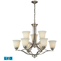 ELK Lighting Malaga 9 Light Chandelier in Brushed Nickel 11524/6+3-LED