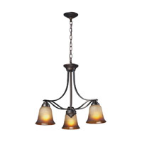 Malaga 3 Light 22 inch Aged Bronze Chandelier Ceiling Light