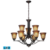 ELK Lighting Malaga 9 Light Chandelier in Aged Bronze 11534/6+3-LED