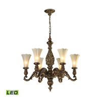 ELK Lighting Allesandria LED Chandelier in Burnt Bronze & Weathered Gold Leaf 11540/6-LED