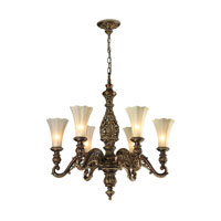 ELK Lighting Allesandria 6 Light Chandelier in Burnt Bronze & Weathered Gold Leaf 11540/6