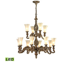 ELK Lighting Allesandria LED Chandelier in Burnt Bronze & Weathered Gold Leaf 11541/8+4-LED