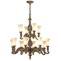 ELK Lighting Allesandria 12 Light Chandelier in Burnt Bronze & Weathered Gold Leaf 11541/8+4