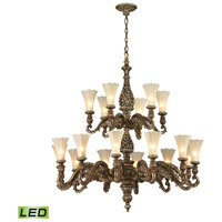 ELK Lighting Allesandria LED Chandelier in Burnt Bronze & Weathered Gold Leaf 11542/12+6-LED