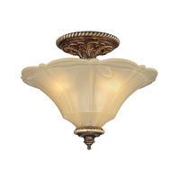 ELK Lighting Allesandria 3 Light Semi-Flush Mount in Burnt Bronze & Weathered Gold Leaf 11553/3