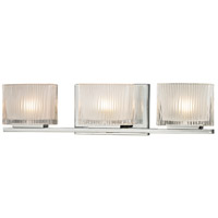 Chiseled Glass 3 Light 20 inch Polished Chrome Bath Bar Wall Light