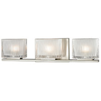 ELK Lighting Chiseled Glass 3 Light Bath Bar in Brushed Nickel 11632/3