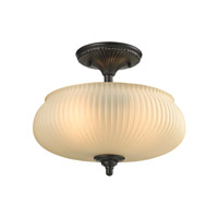 ELK Lighting Park Ridge 2 Light Semi Flush in Oil Rubbed Bronze with Amber Glass 11654/2