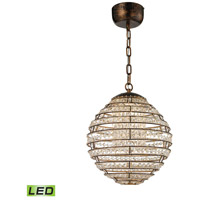 Crystal Sphere LED 13 inch Spanish Bronze Pendant Ceiling Light