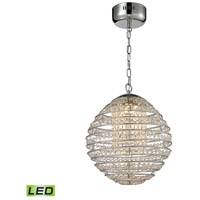Crystal Sphere LED 13 inch Polished Chrome Pendant Ceiling Light