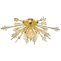 Starburst 12 Light 34 inch Polished Gold Semi Flush Mount Ceiling Light