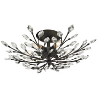 Crystal Branches 6 Light 24 inch Burnt Bronze Semi Flush Mount Ceiling Light