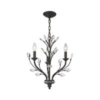 ELK Lighting Crystal Branches 3 Light Chandelier in Burnt Bronze 11774/3