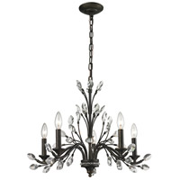 ELK 11775/5 Crystal Branches 5 Light 25 inch Burnt Bronze Chandelier Ceiling Light