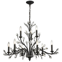 ELK Lighting Crystal Branches 9 Light Chandelier in Burnt Bronze 11776/6+3